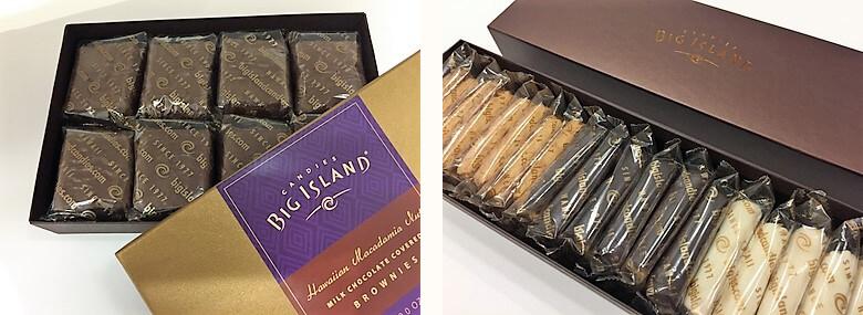 1977年ハワイ島ヒロ地区で創業。ビッグ・アイランド・キャンディーズの「ショートブレッド」$16.75(左)、「ブラウニー」$13.00(右)