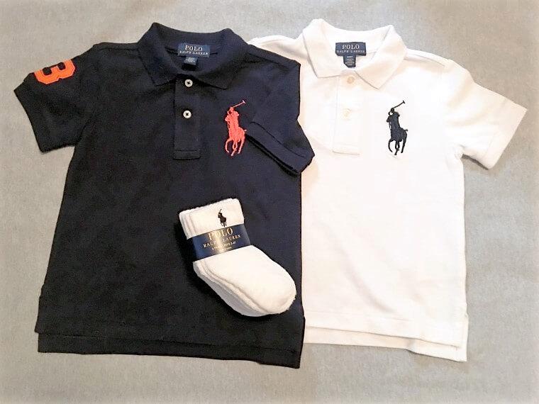 子供と一緒にお揃いで着たい人気のポロシャツはサイズ展開も豊富に揃っています。「Polo Ralph Lauren」ポロシャツ$35.00、靴下$15.00(ワイケレ・プレミアム・アウトレット)
