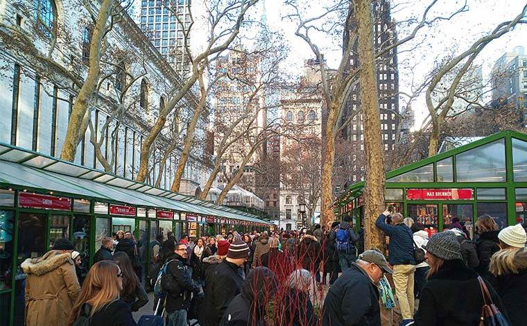 ブライアントパークのクリスマスマーケットはセンスの良い品揃えに定評あり。