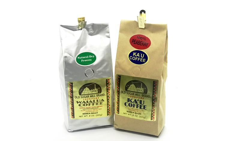 オールド・シュガー・ミル・ブランド(左)ワイアルア・コーヒー・ナチュラル・プロセス$21.50(右)カウ・ピーベリー・コーヒー$35.95