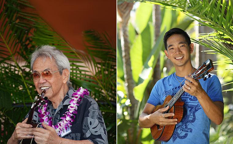 左から、オータサン、ジェイク・シマブクロ<br /> 写真提供:Ukulele Festival Hawaii