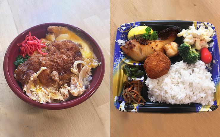 銀だらの西京焼き弁当(左)12.99ドル、カツ丼(右)10.99ドル