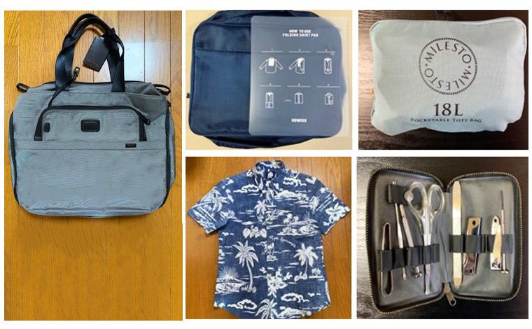 機能的な「トゥミ」のトート。お気に入りのアロハや長期滞在に必要なエチケット小物は専用ケースでコンパクトに。「ミレスト」のたためるバッグも必携です。