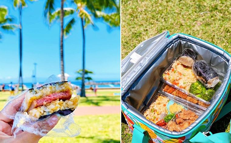 ハワイのソウルフードとも言える「スパムむすび」はお弁当の定番。青空の下で食べるのは最高!