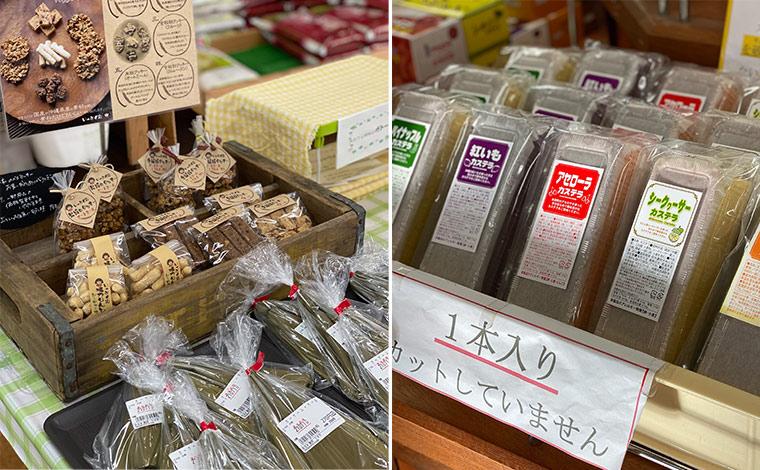 (左)ベジークッキーの手前ある「カーサムーチー」は沖縄伝統のお餅のお菓子。<br /> (右)カステラはアセロラと並んで、シークワーサーも人気だそう。<br />