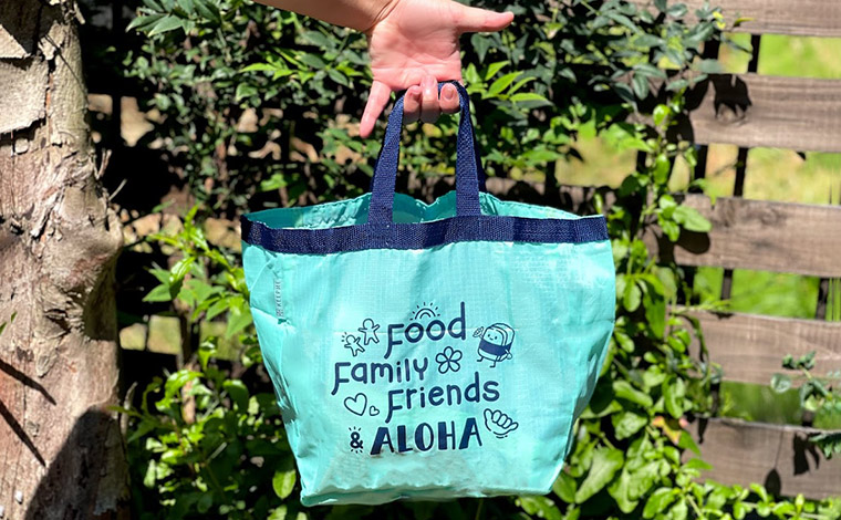 (Food, Family, Friends Aloha Takeout Bag (Teal, also available in Blue)$5.99)